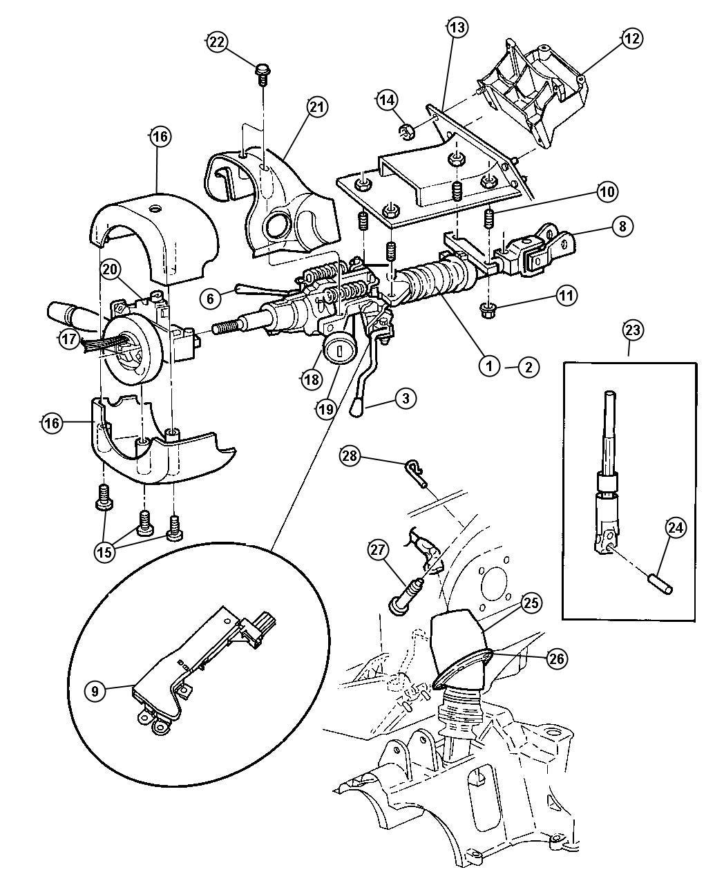 2006 Dodge Grand Caravan Lever  Gearshift  Steering