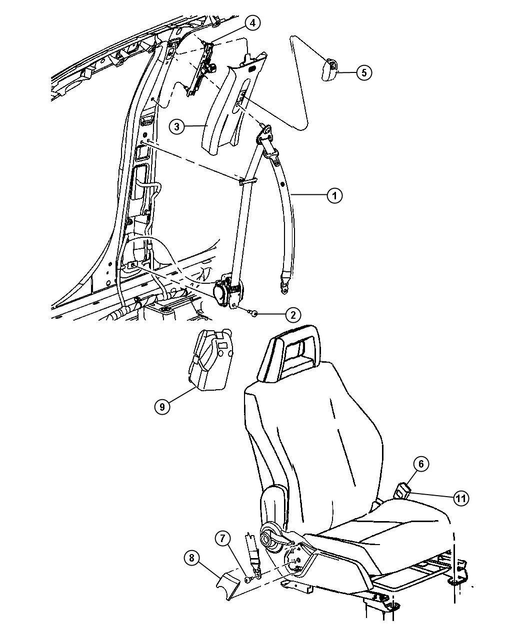 2007 Dodge Caliber Cover  Seat Belt Retractor  Left  Front
