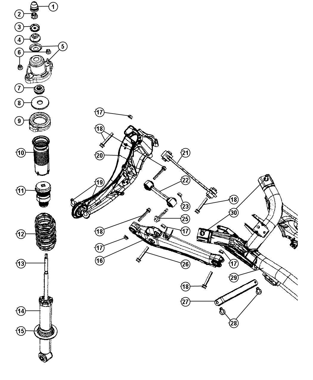 2010 jeep patriot shock absorber  suspension  rear   sdc