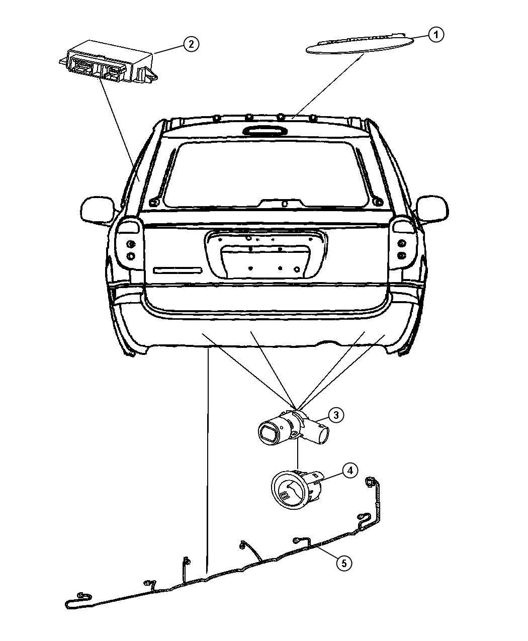 2007 Dodge Caravan Wiring  Rear Fascia  Park Assist Sensor