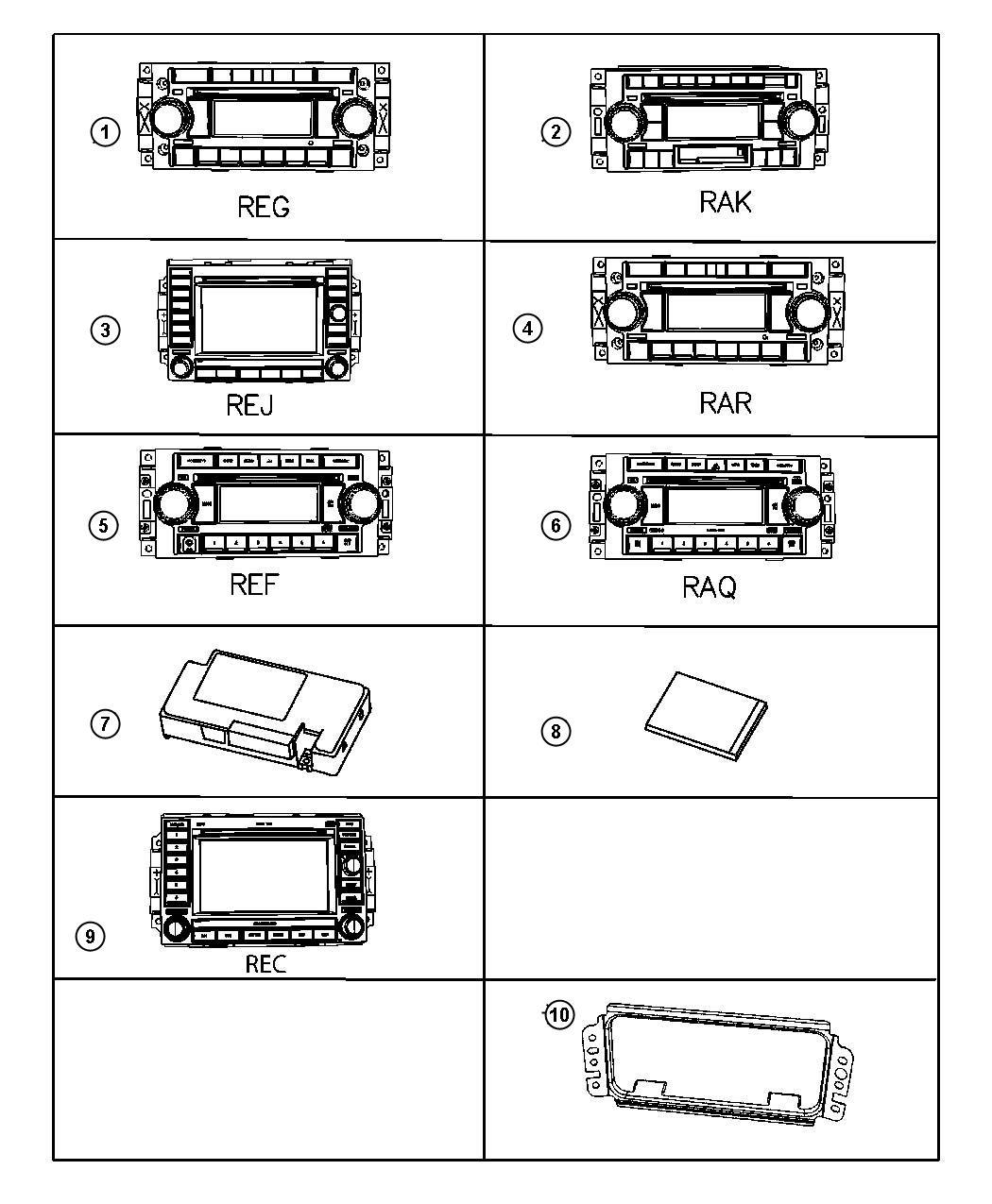 2007 Jeep Compass Bracket  Radio  Trim   All Trim Codes