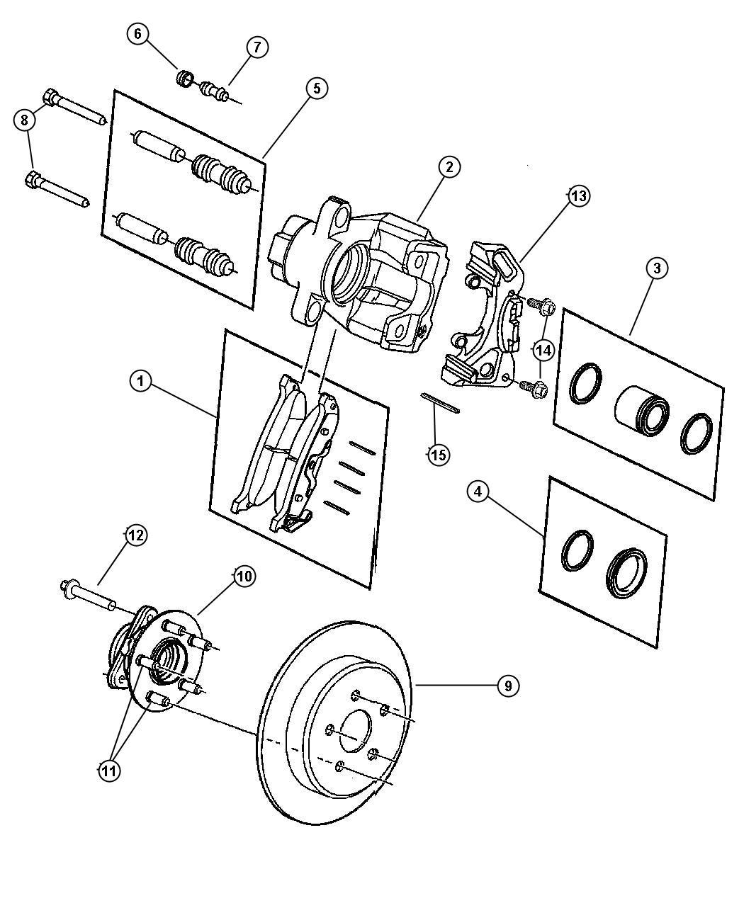 2011 dodge caliber pad kit  rear disc brake  contains