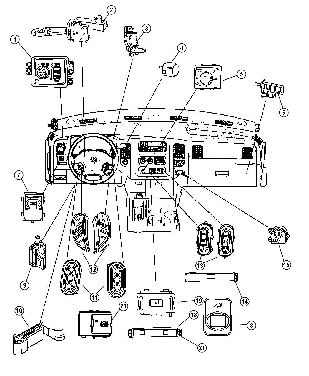 2008 dodge ram 1500 bezel  switch   xap   adjustable pedal