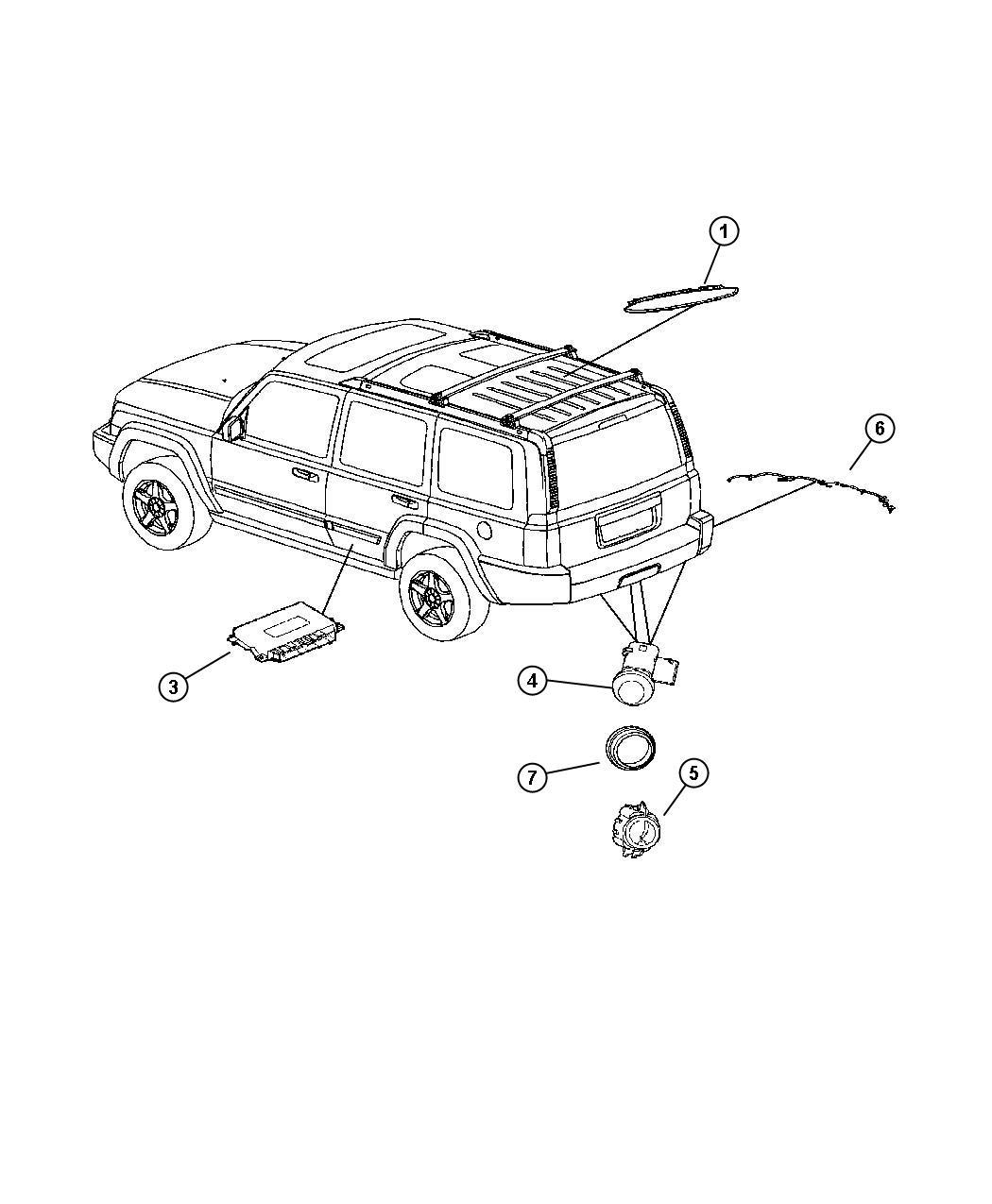 2007 Jeep Commander Harness  Wiring  Rear Fascia  Sensor