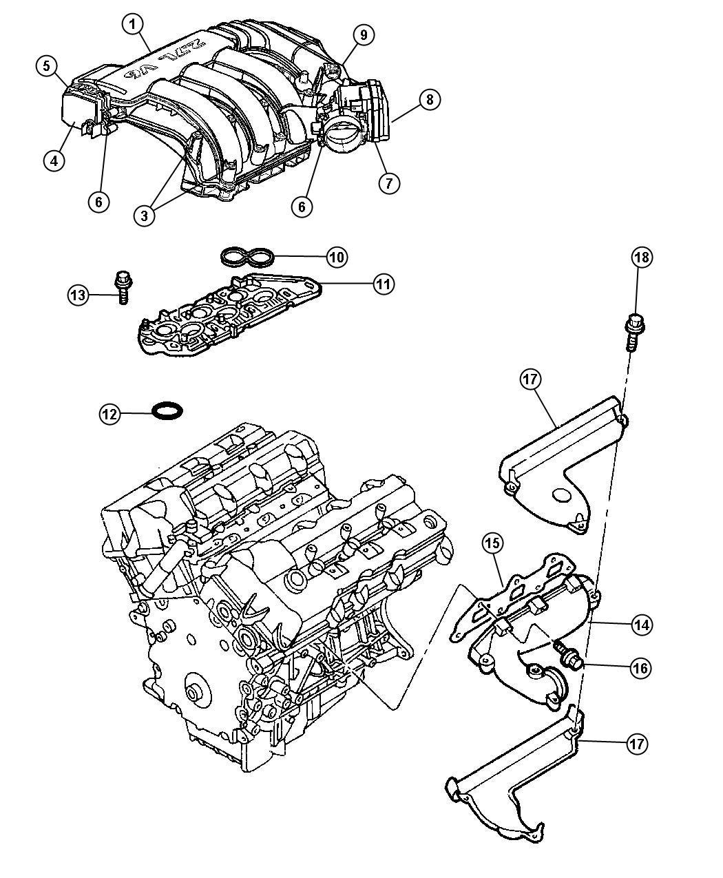 2007 Dodge Magnum Pad  Engine  Foam  Eer  Intake  Manifold