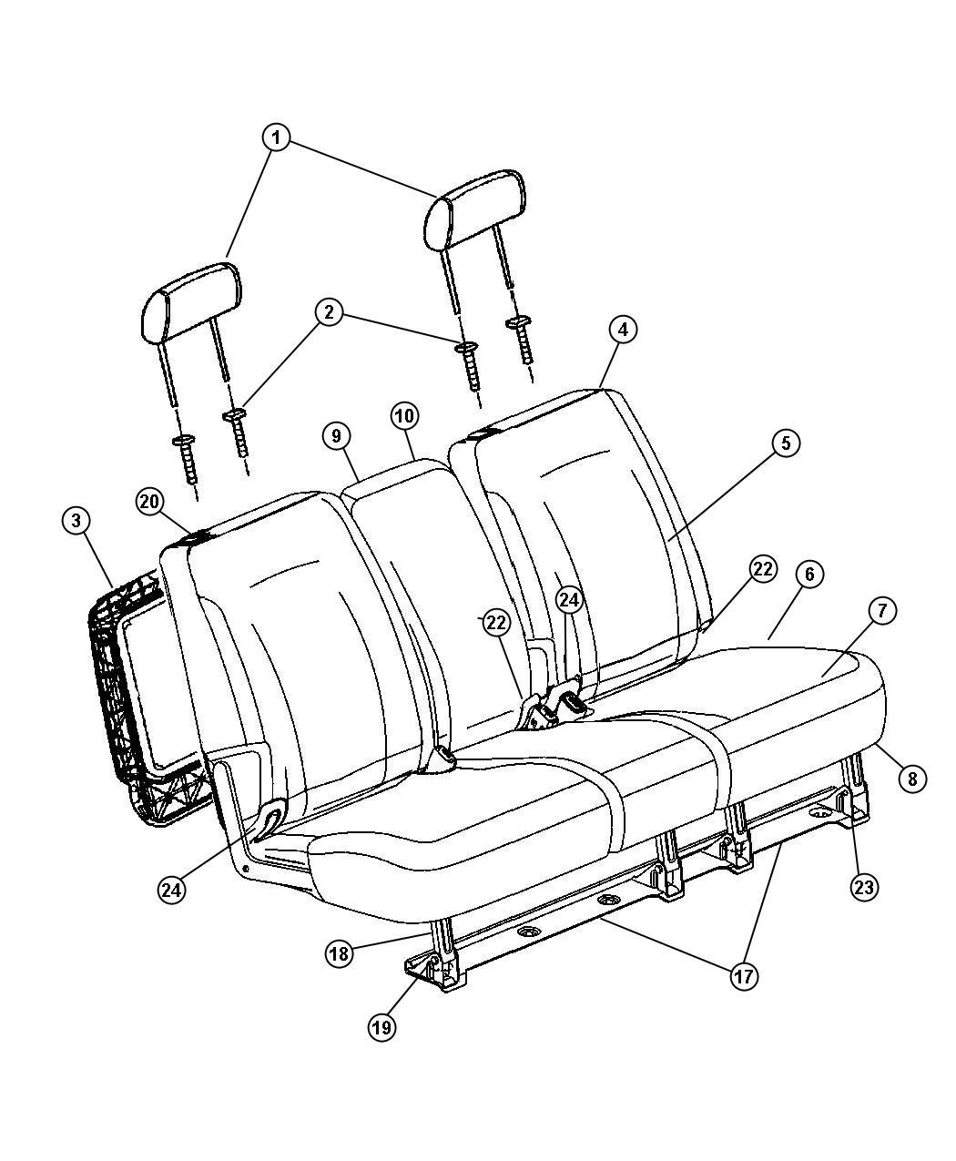 2007 Chrysler Pacifica Foam. Seat Back. 35%, 35% Side