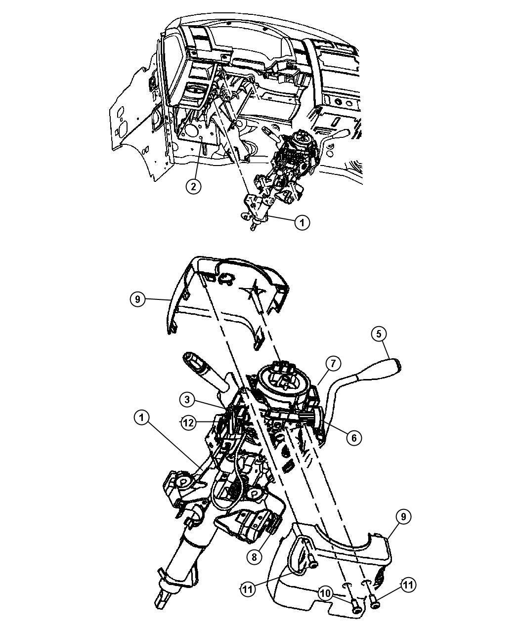 2007 chrysler aspen knob  tilt lever release   tilt steering column   after 04  03  06