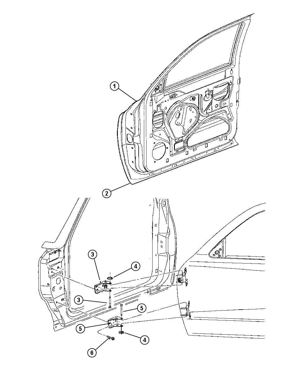 2000 Dodge Dakota Hinge Front Door Lower Right Panel