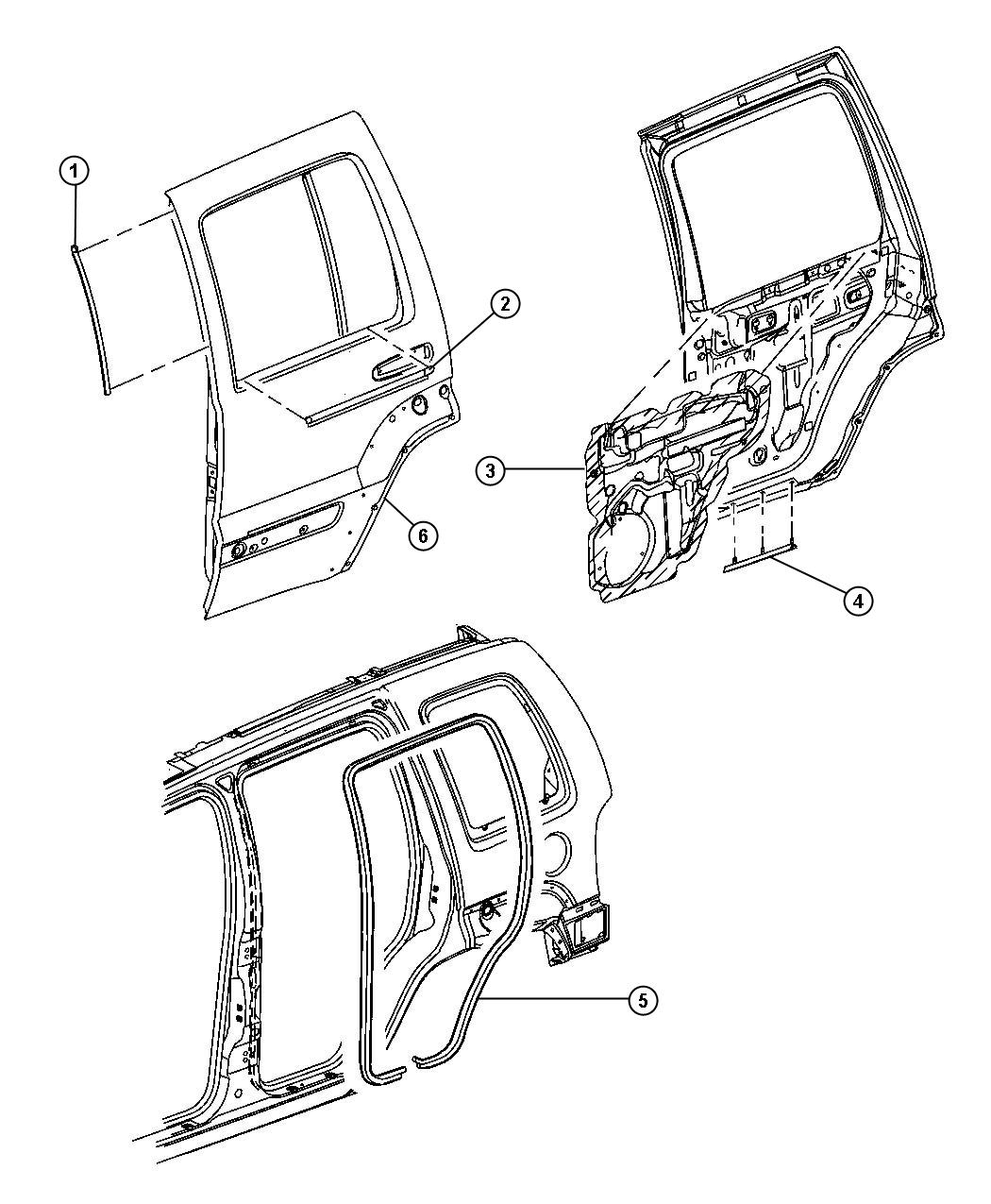 2007 jeep wrangler seal  rocker  rear  door  body
