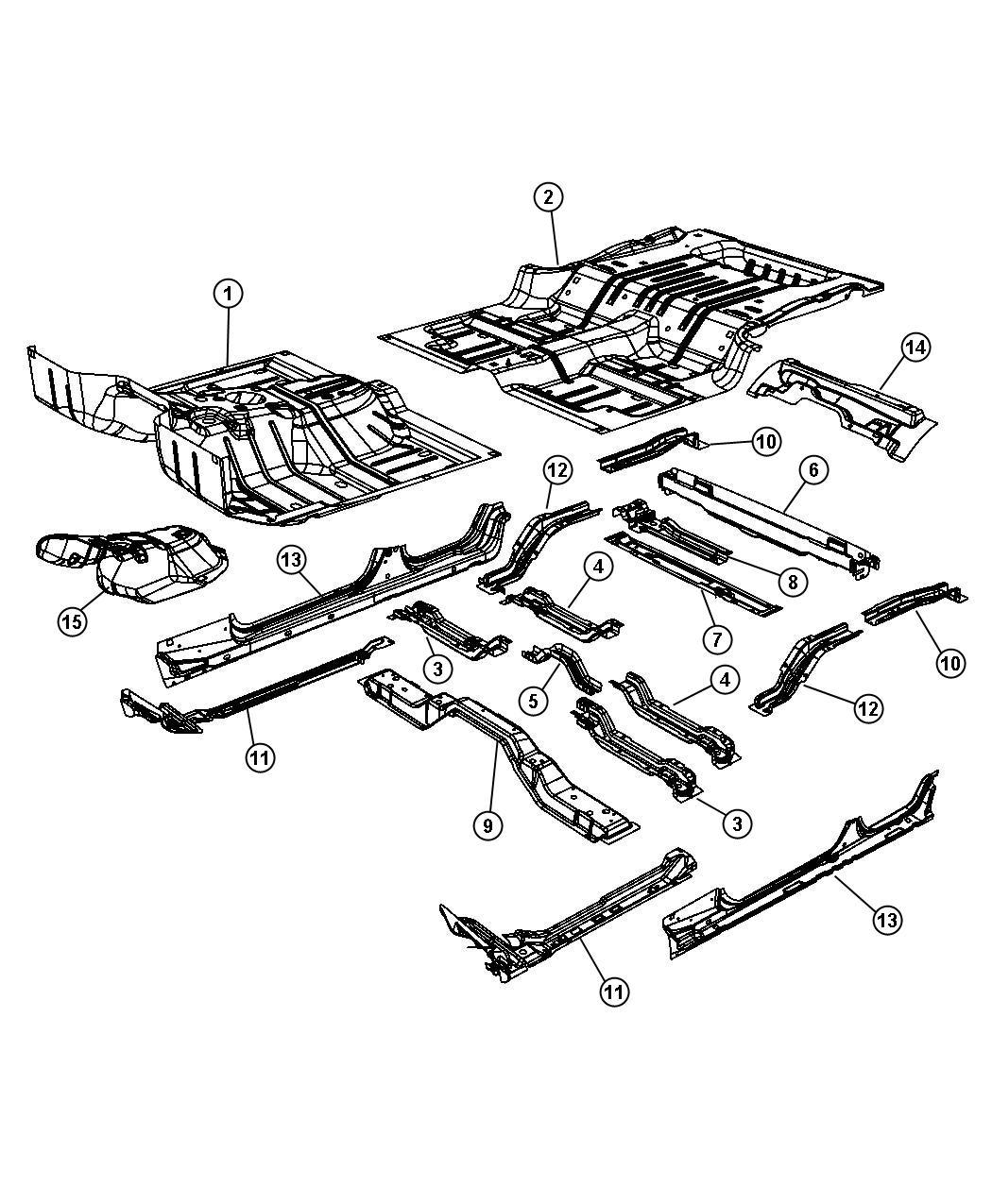 2007 jeep wrangler ladder  rear floor  left  body  pan