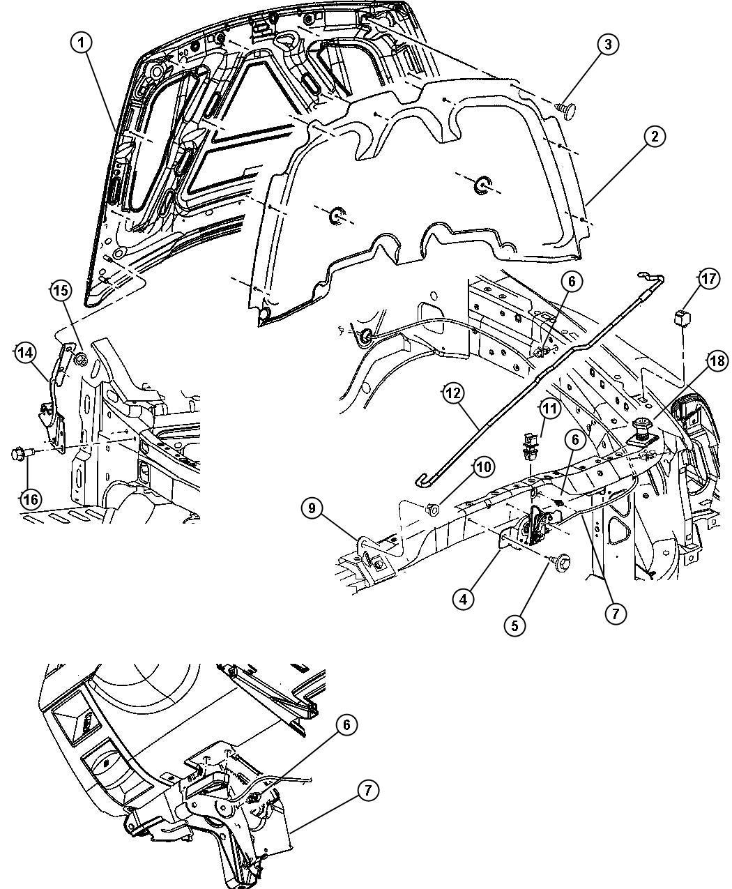 2009 chrysler aspen latch hood release trim interior. Black Bedroom Furniture Sets. Home Design Ideas