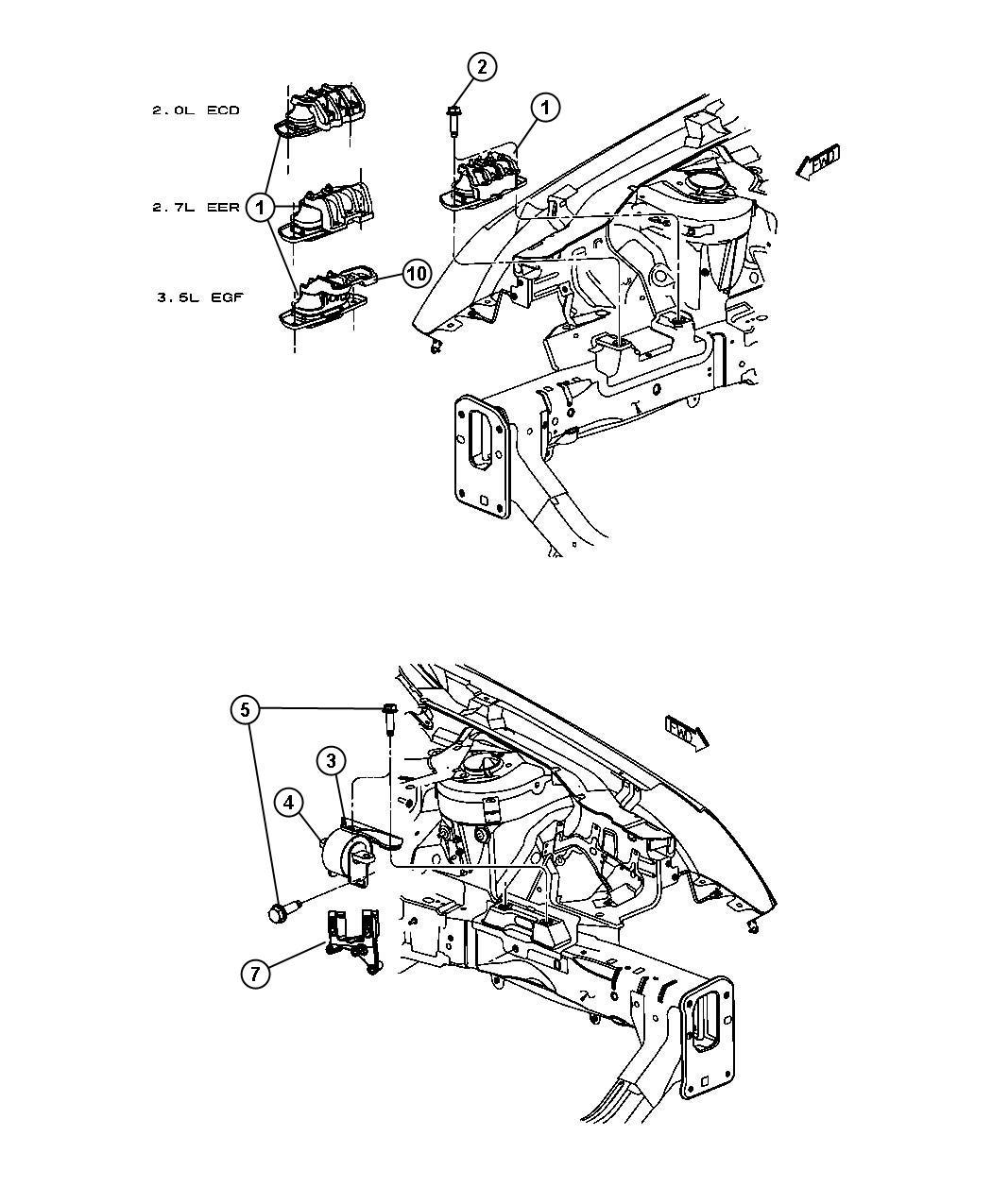 Dodge Avenger Isolator  Right  Right Side   4