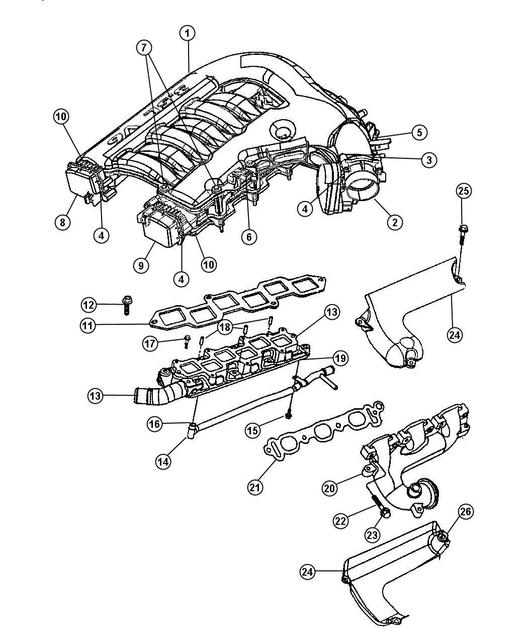 2007 Dodge Magnum Actuator  Intake Short Running Valve