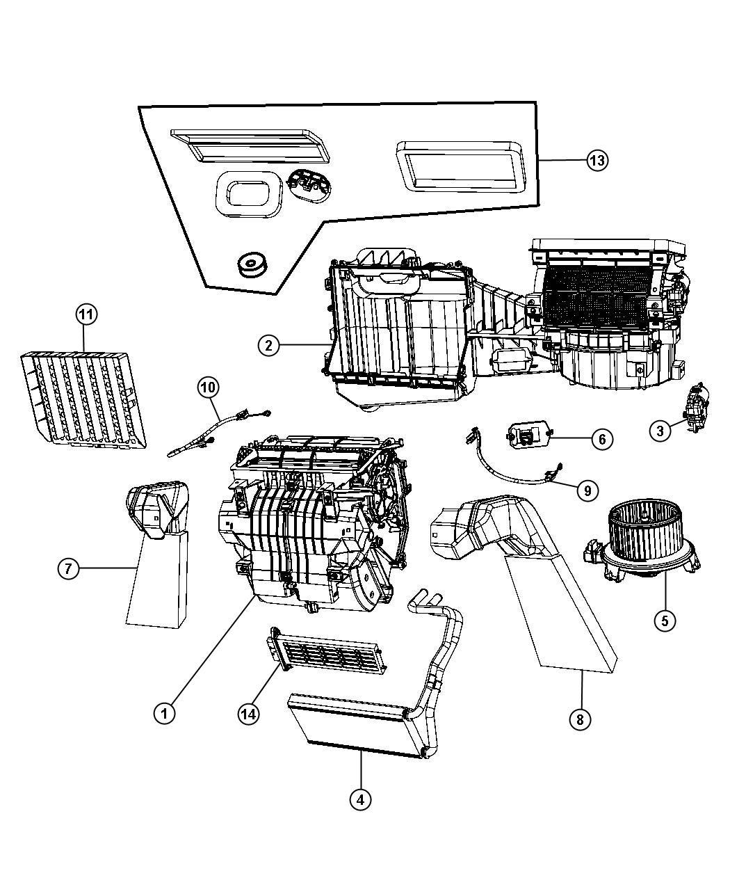 2010 jeep wrangler housing  blower motor  evaporator  drain  doors