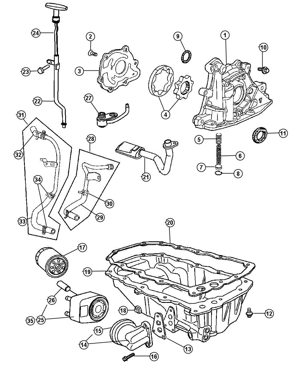 2005 Chrysler PT Cruiser Cooler. Engine oil. Turbo, dohc ...