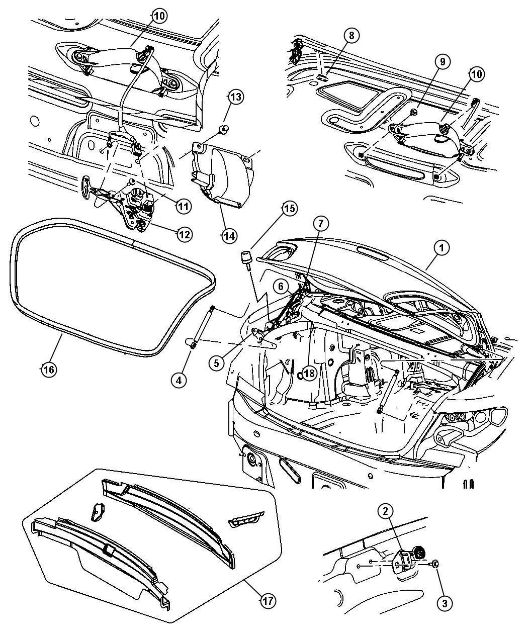 Chrysler 200 Bumper. Overslam. Lid, Deck, Body