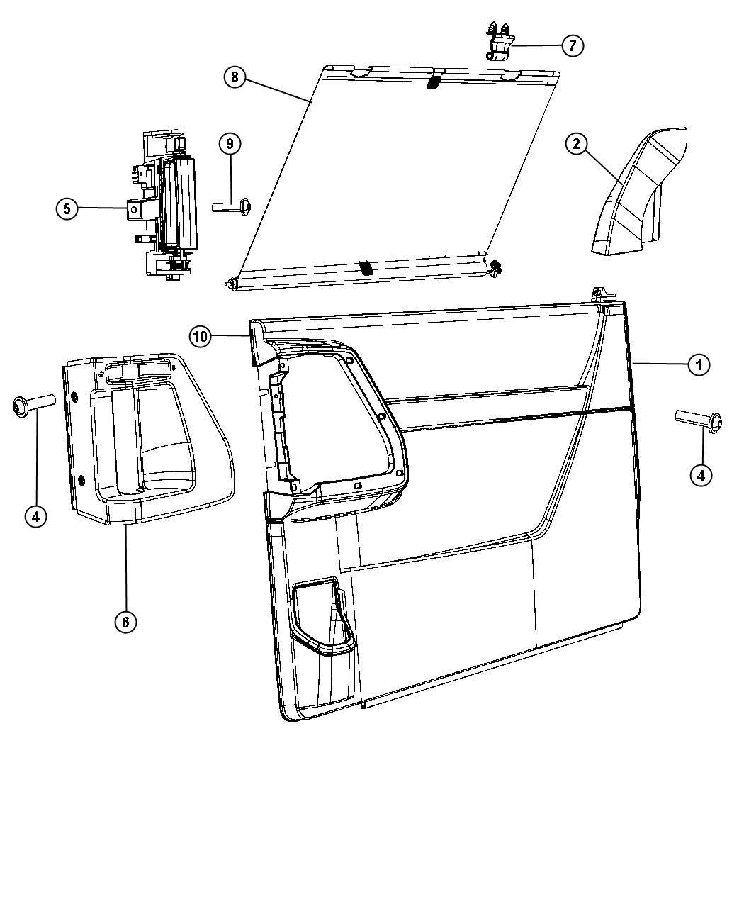 2008 Dodge Grand Caravan Panel  Sliding Door Trim  Right