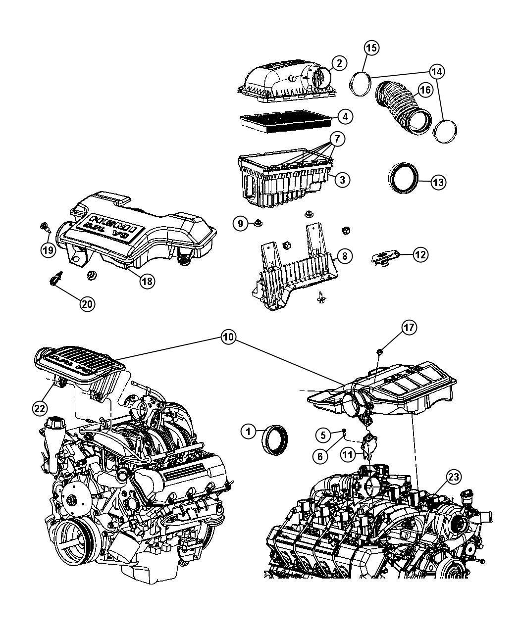 dodge ram 1500 resonator  throttle body  engine  hemi  cleaner