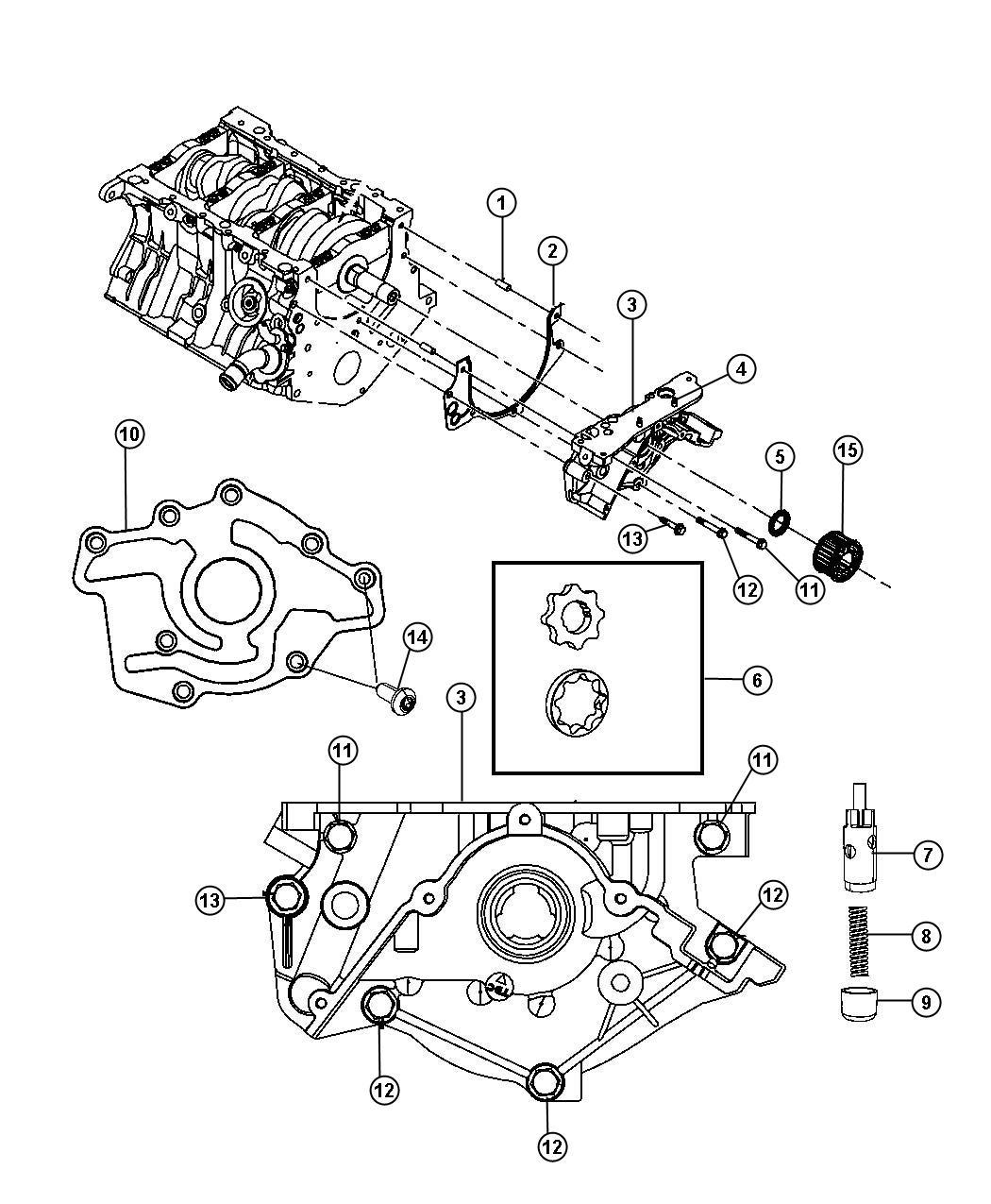2008 Dodge Grand Caravan Pump  Engine Oil  Complete Pump