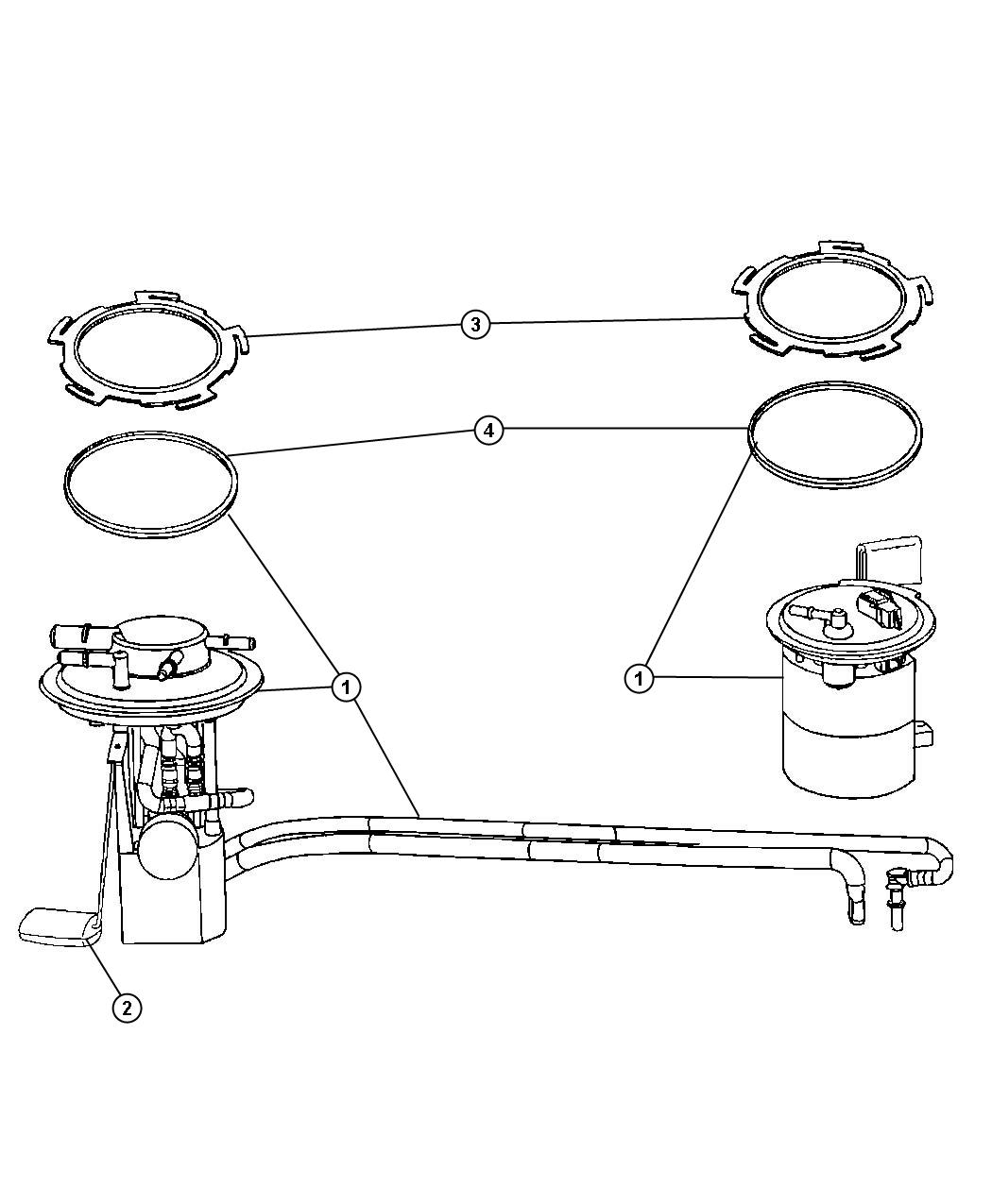 2008 Chrysler Pacifica Module Kit  Fuel Pump  Level Unit