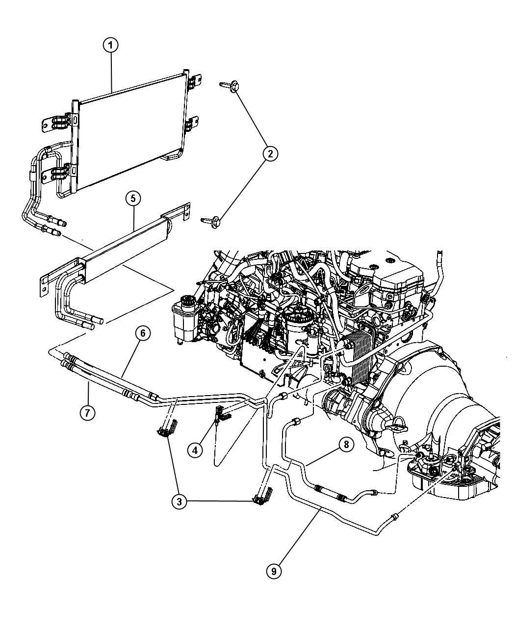 Dodge Ram 2500 Cooler. Transmission oil. Lines, engine ...
