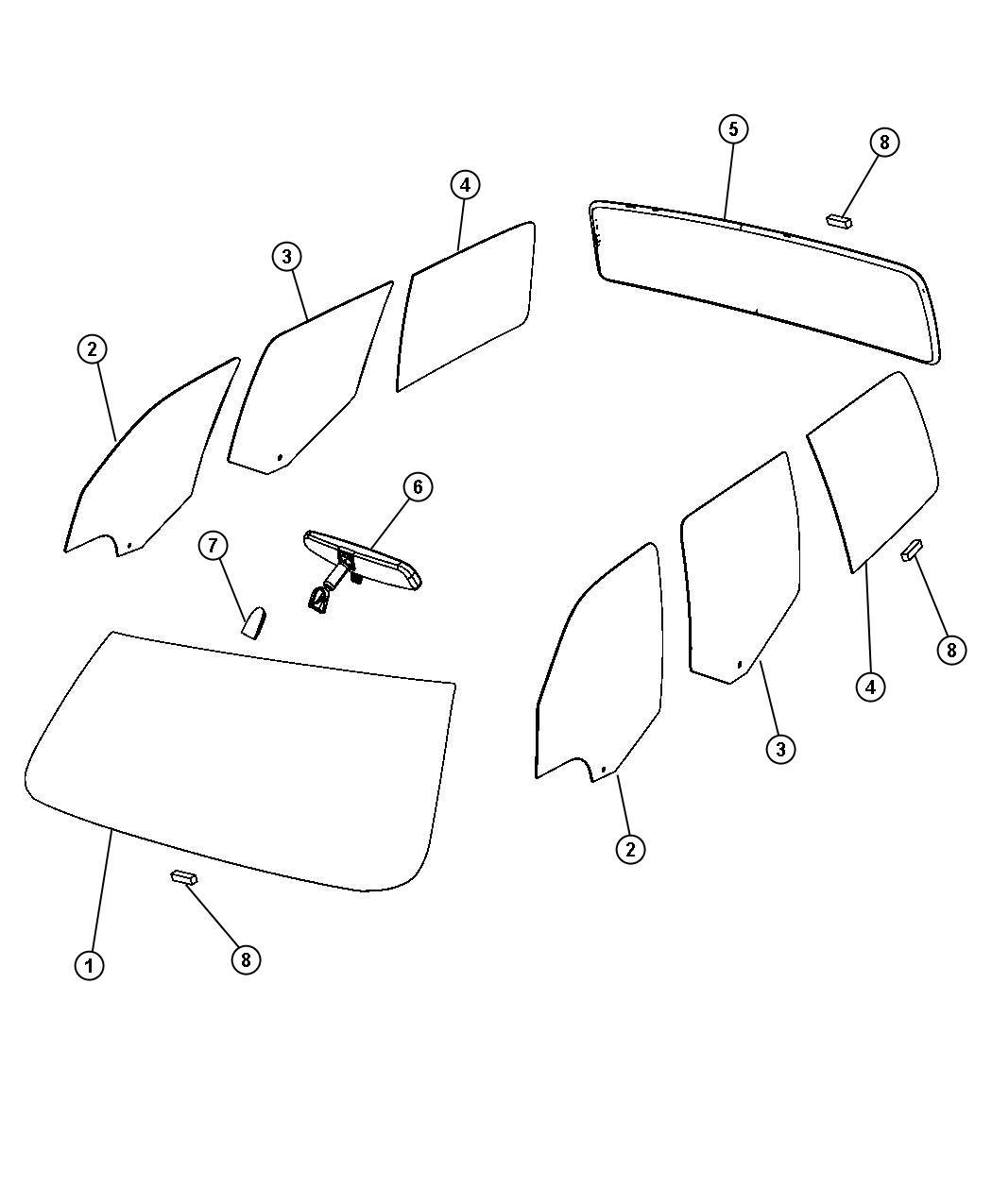 2008 dodge nitro windshield  shipping assembly
