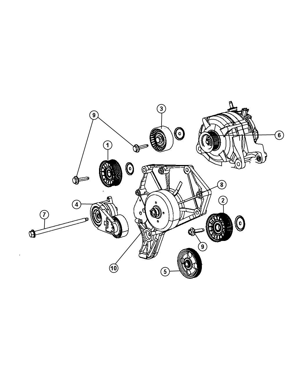 2008 Dodge Nitro Pulley  Power Steering Pump  Pulleys  Gas