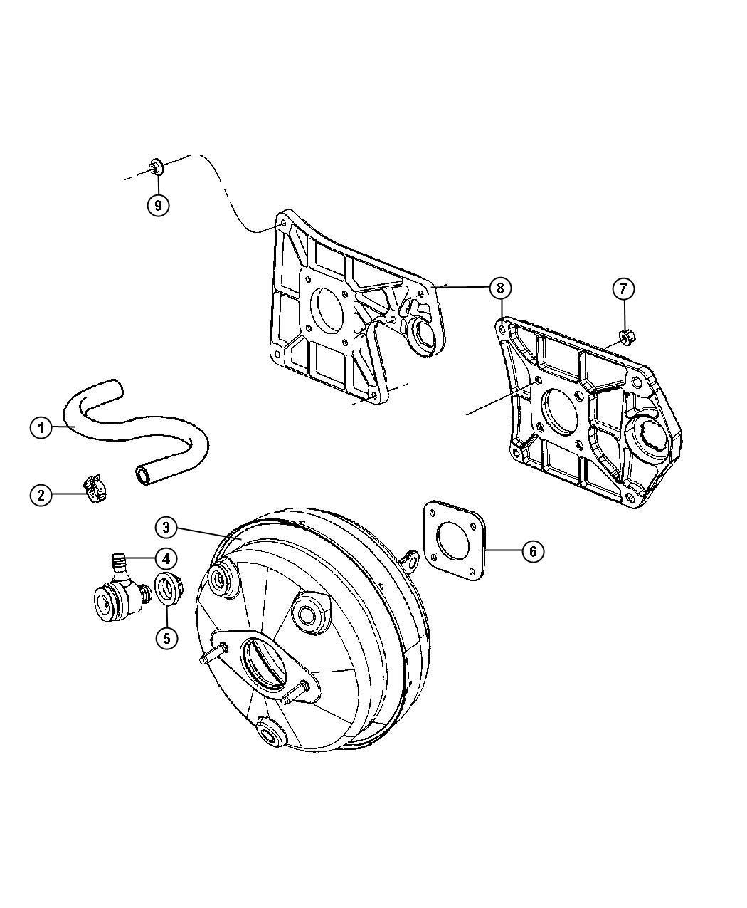 Jeep Wrangler Hose. Brake booster vacuum. [all v6 engines ...