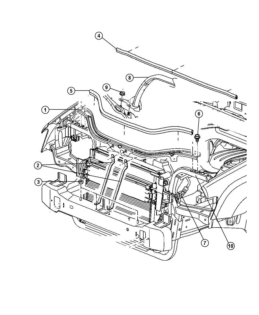2008 jeep commander crossmember  radiator  lower  support  upper