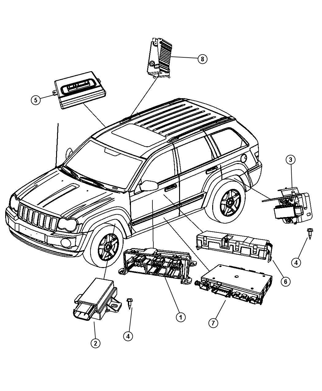 2008 Jeep Grand Cherokee Module  Tire Pressure Monitoring  Rear Right  Right Rear