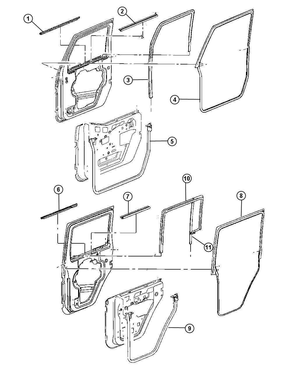 Jeep Wrangler Weatherseal  Door To Body  Front Full Door