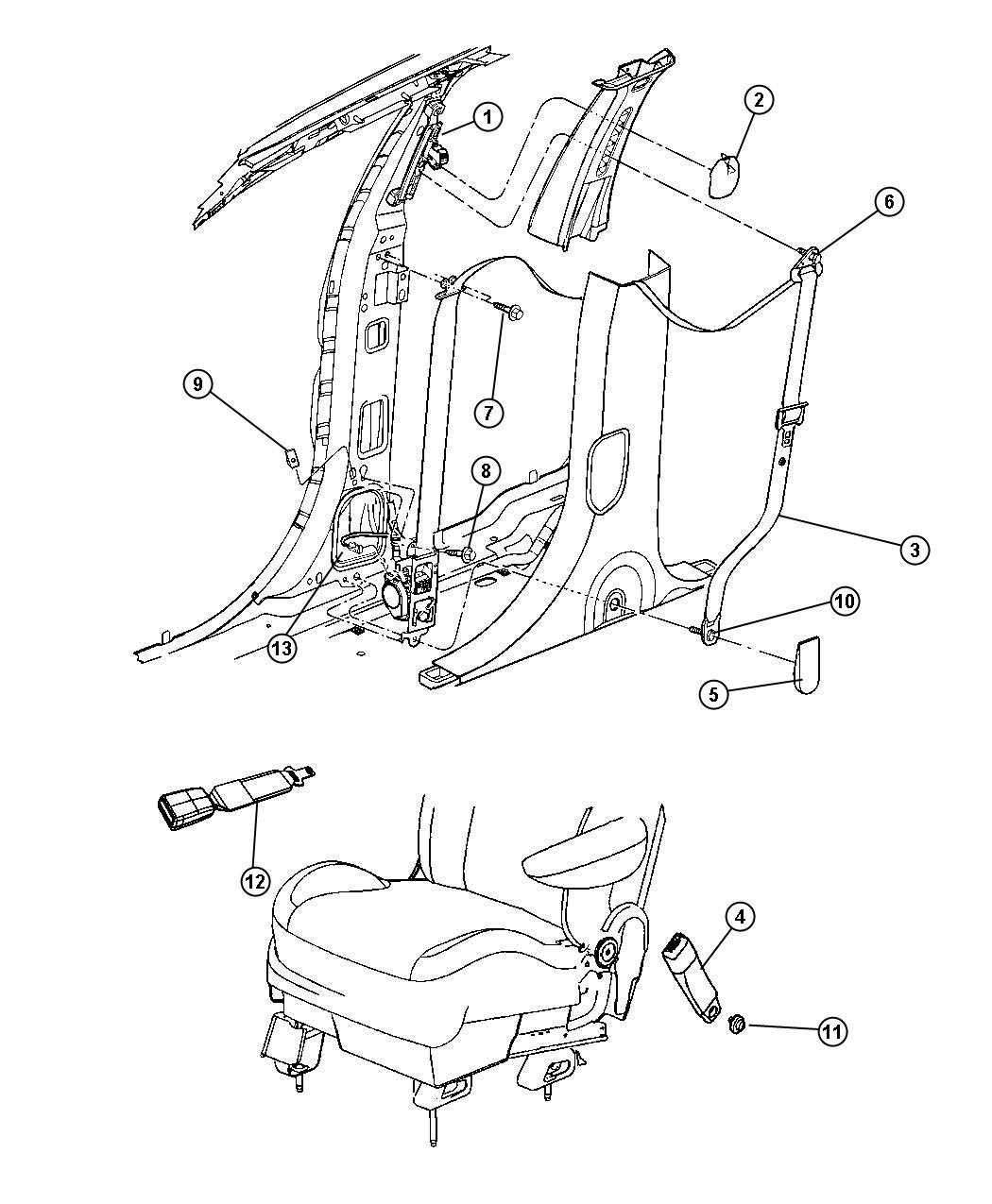 2008 Chrysler Pacifica Seat Belt  Front Inner   Da    Da