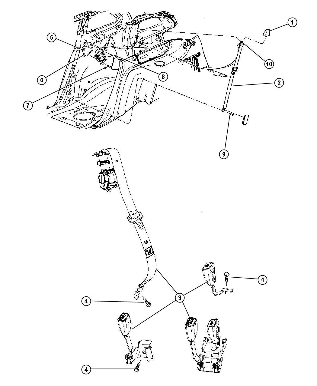 Chrysler Pacifica Seat Belt. Rear Inner. Left. [da