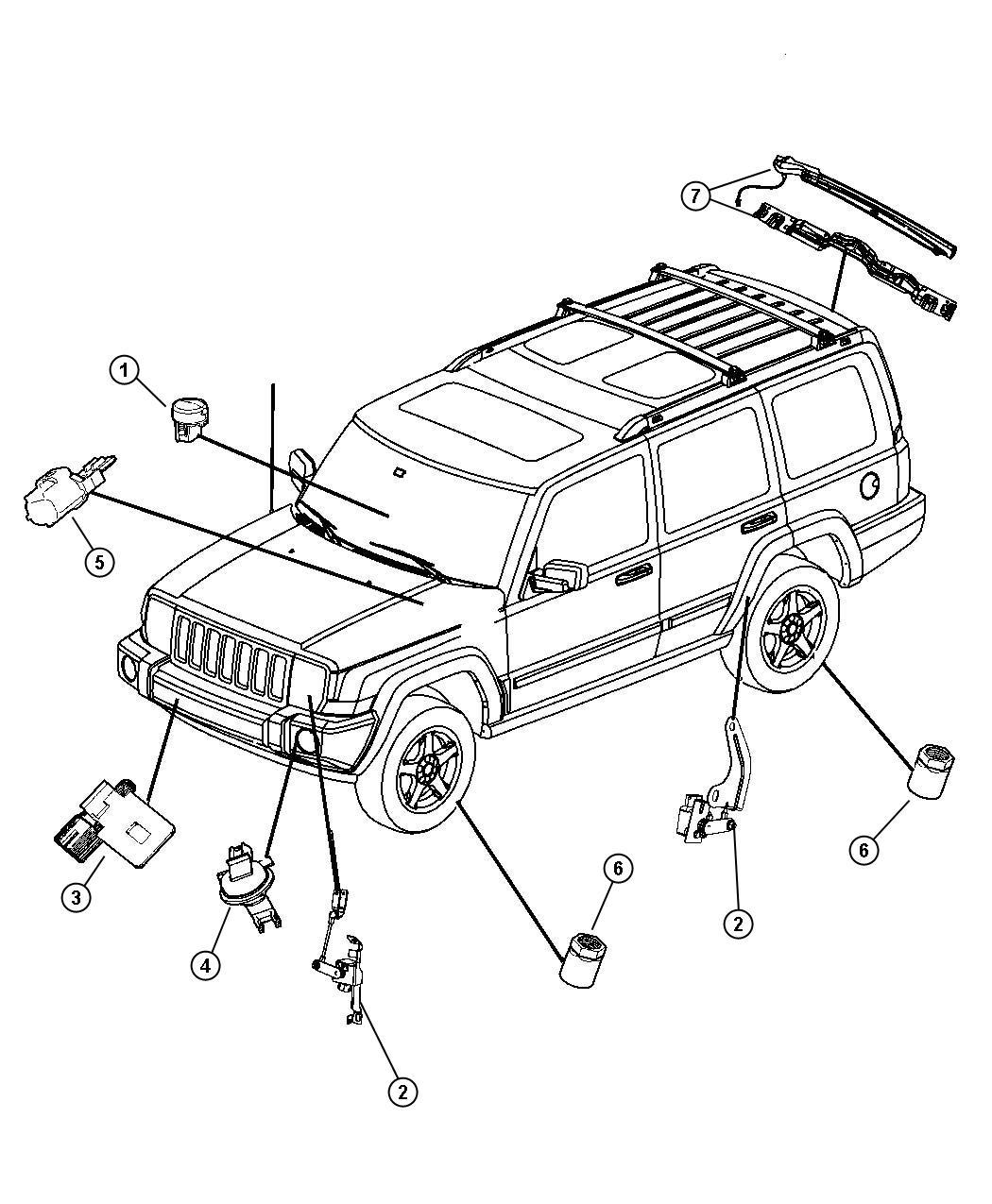 2008 Jeep Commander Sensor  Washer Fluid Level  System
