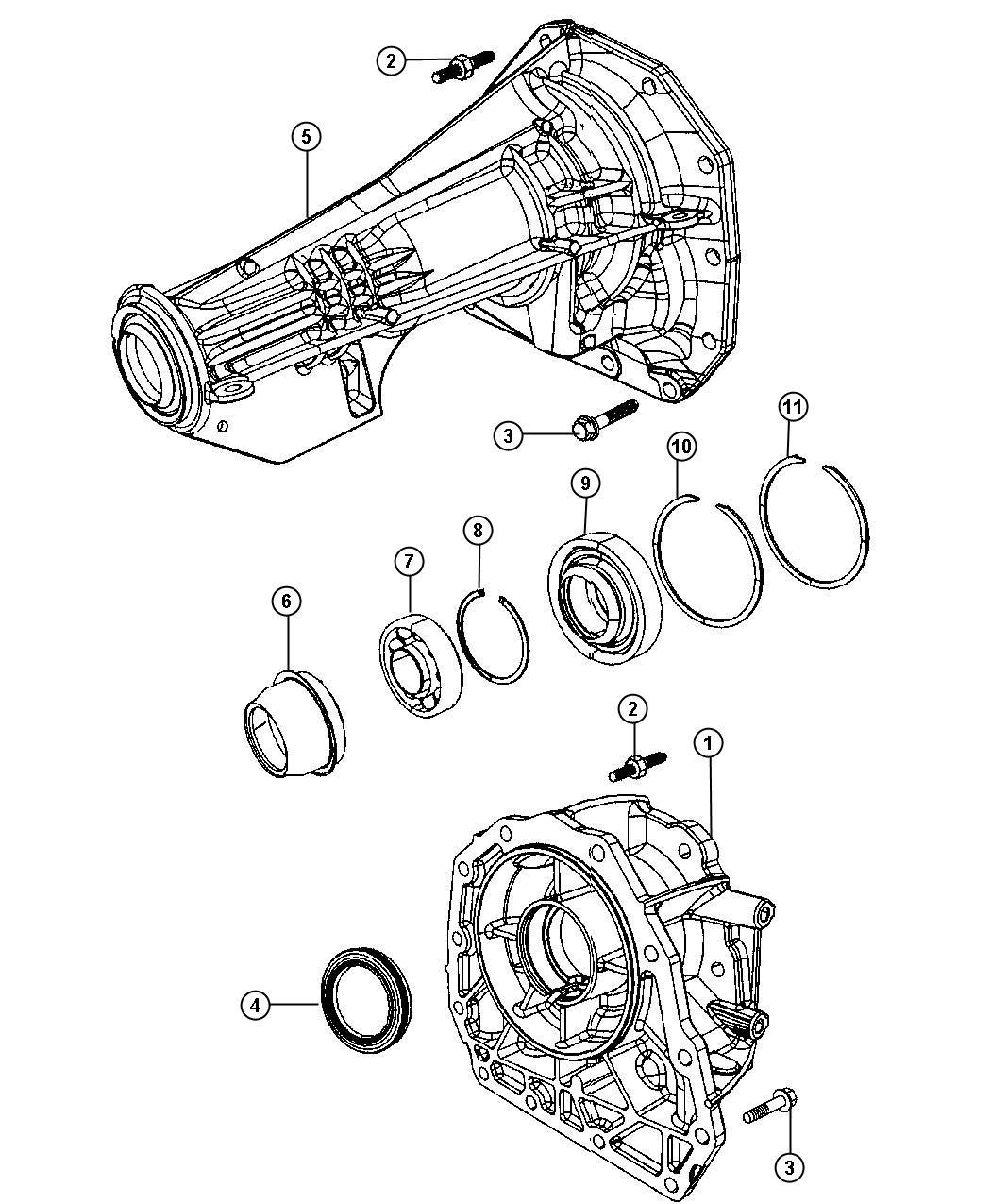 2000 dodge durango housing  transmission rear extension  axle  output  shaft