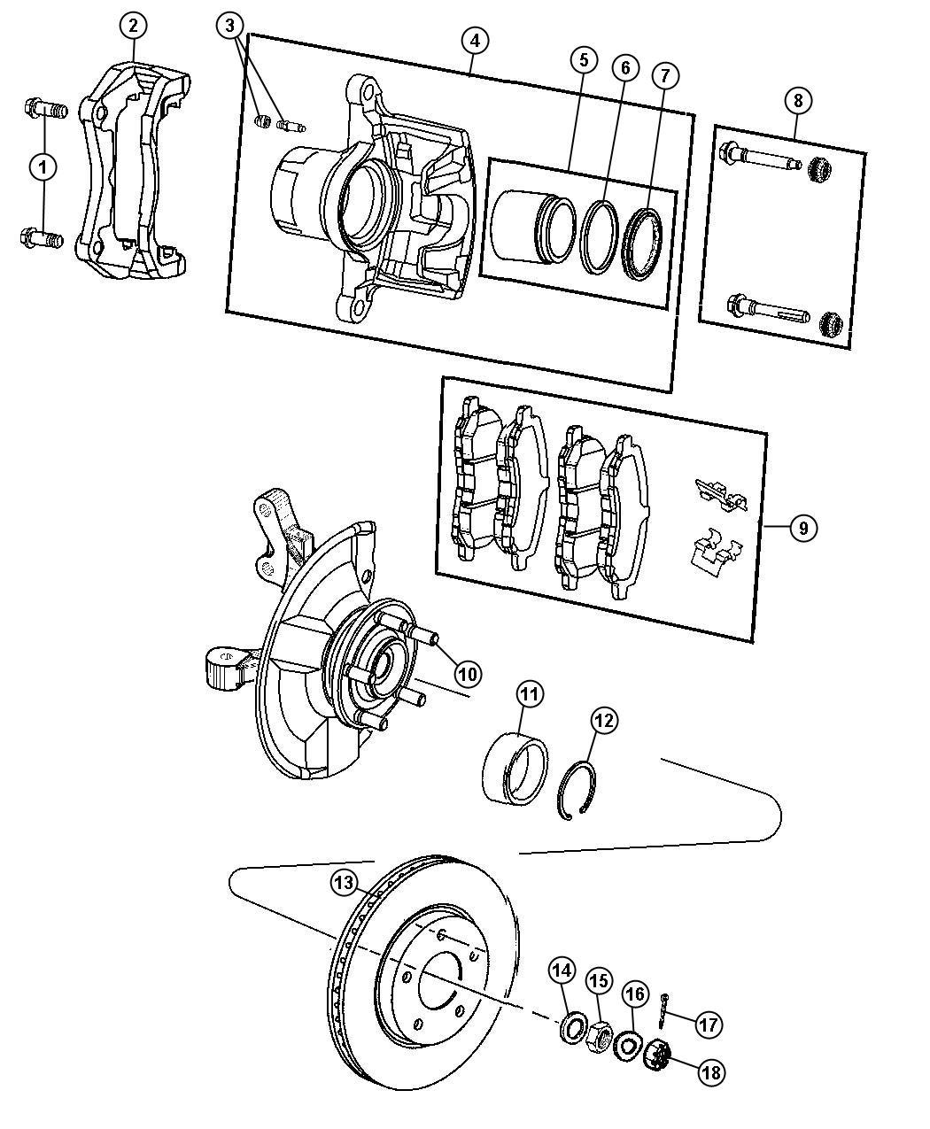 2011 jeep patriot pin  right or left  caliper  disc  lock