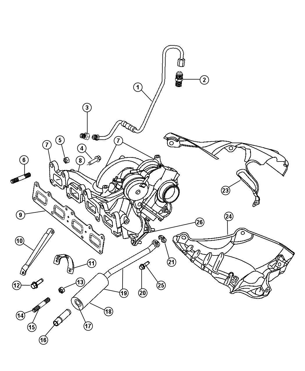 2008 chrysler pt cruiser hose  turbo oil drain  manifold  exhaust  turbocharger