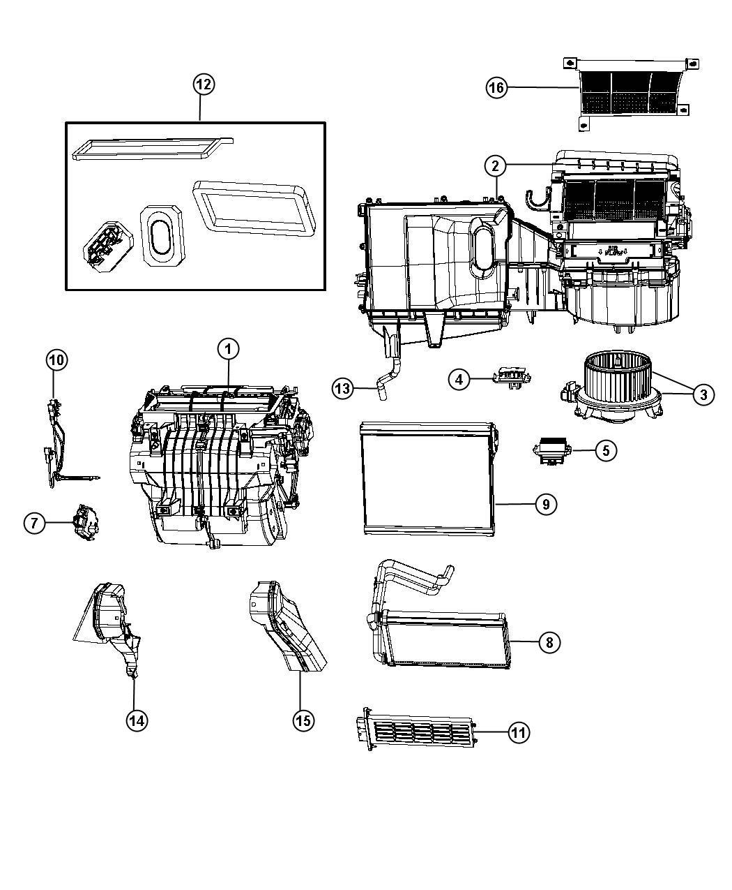 2013 Jeep Patriot Core  Heater  Instrument  Module  Panel