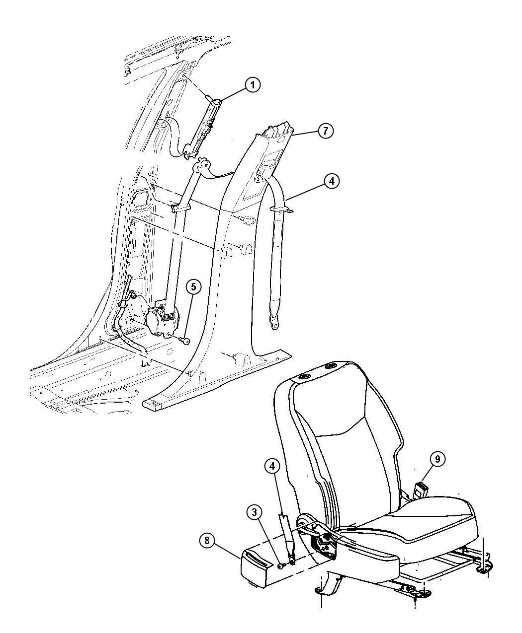 Chrysler Sebring Seat Belt  Retractor  Left   D1   Trim