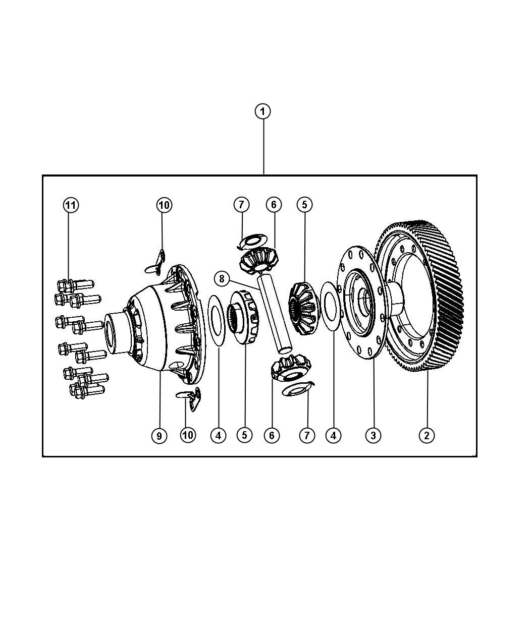 Diagram Differential Assembly. for your 2018 Chrysler Pacifica Touring Plus
