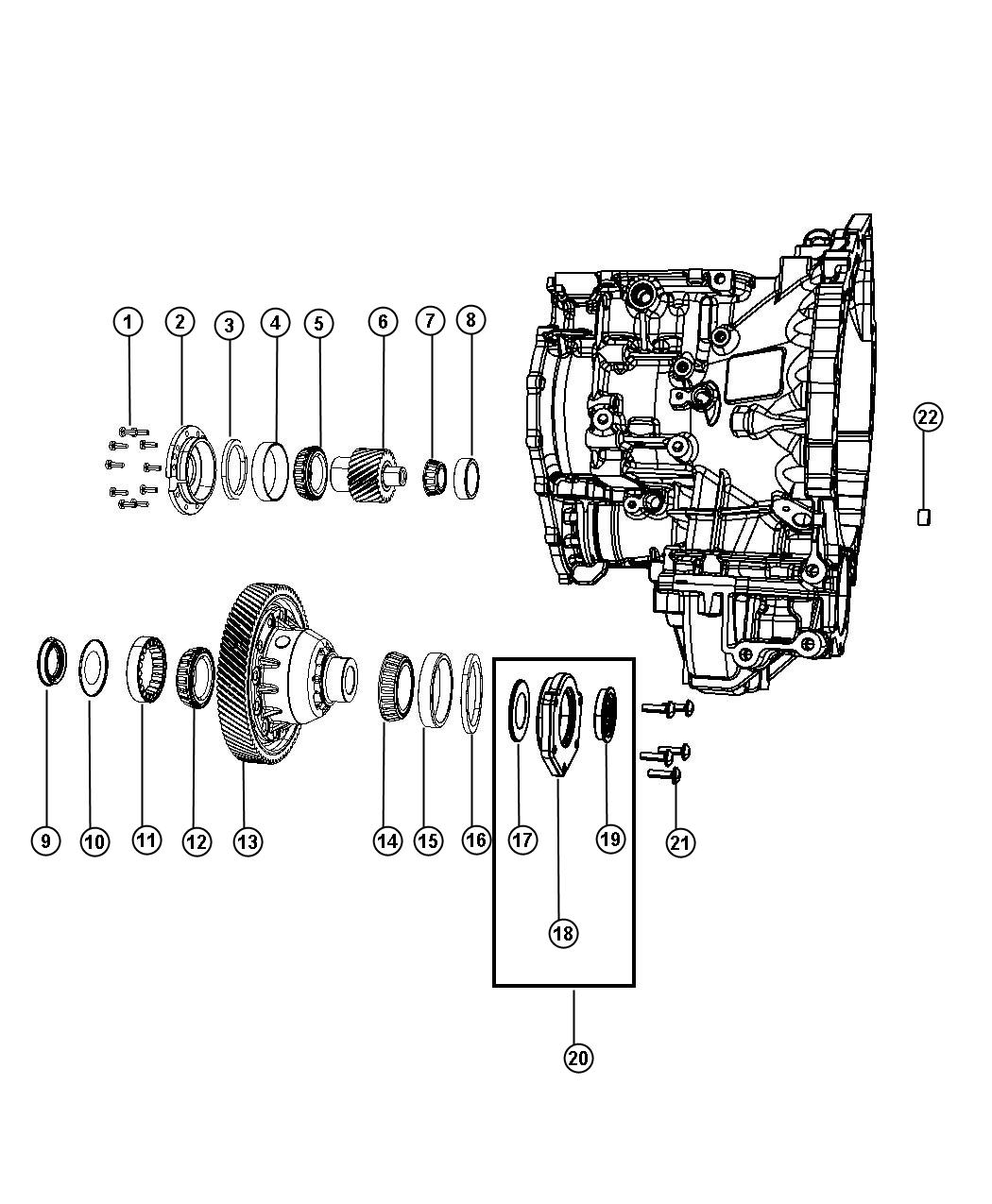 Diagram Output Pinion And Differential. for your 2018 Chrysler Pacifica Touring Plus