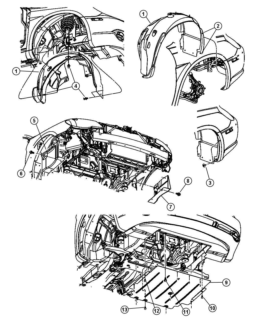 2007 Chrysler Sebring Shield. Left. Fender. Shields, Body