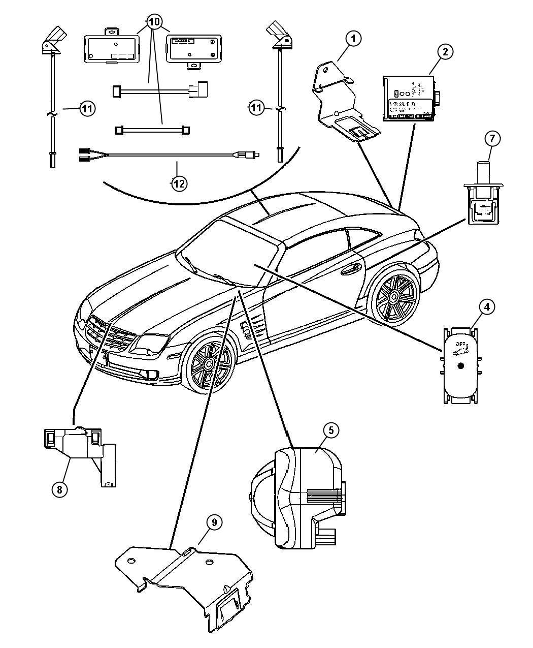 2007 Chrysler Crossfire Module. Intrusion. Alarm, Security