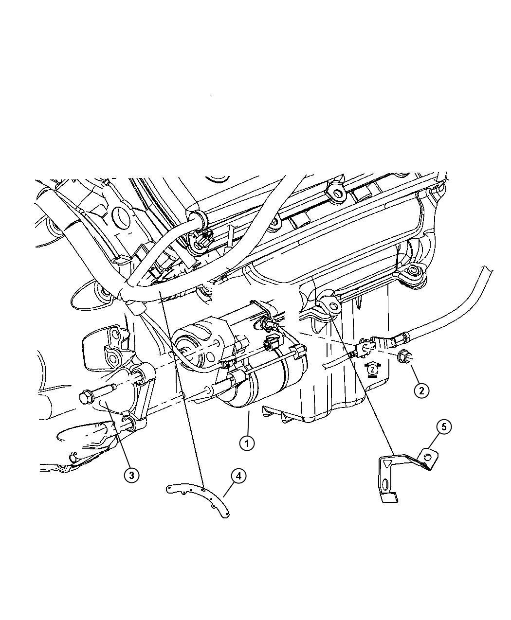 2005 Dodge Magnum Bracket  Wiring Harness  Starter  Engine