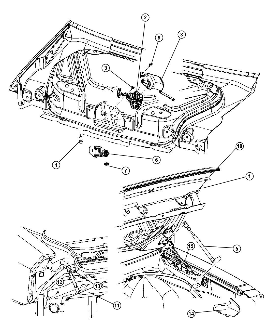 Chrysler 300 Latch. Decklid. Related, Power, Trunklid