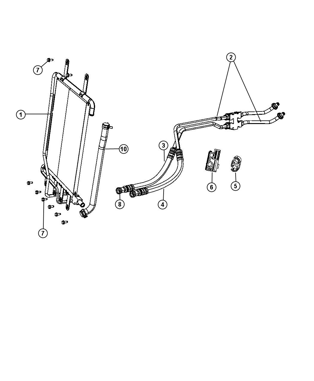 dodge durango used for  tube and hose  oil cooler  return  oil cooler to radiator