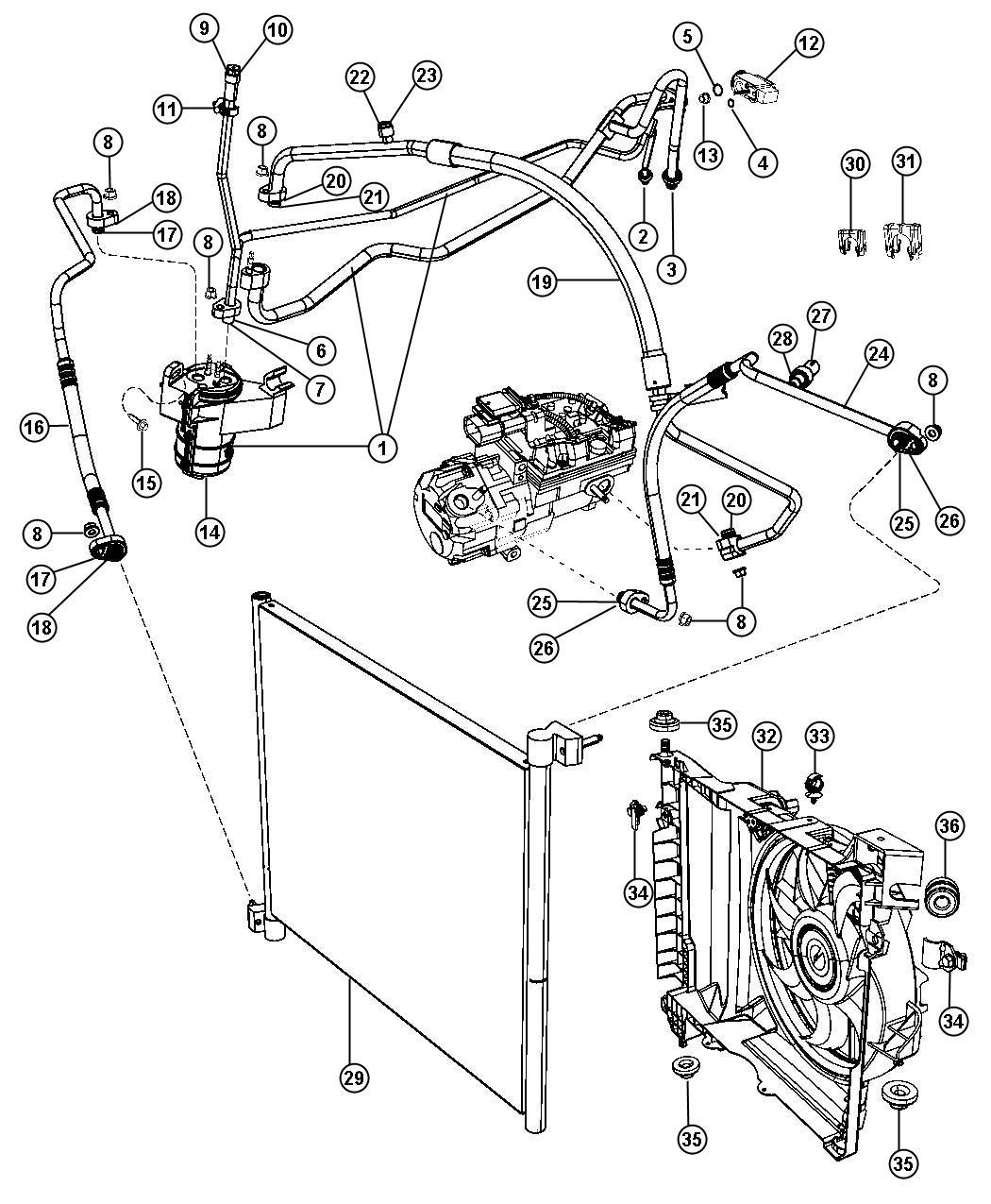 Chrysler Aspen Line  A  C Suction  Air  Plumbing