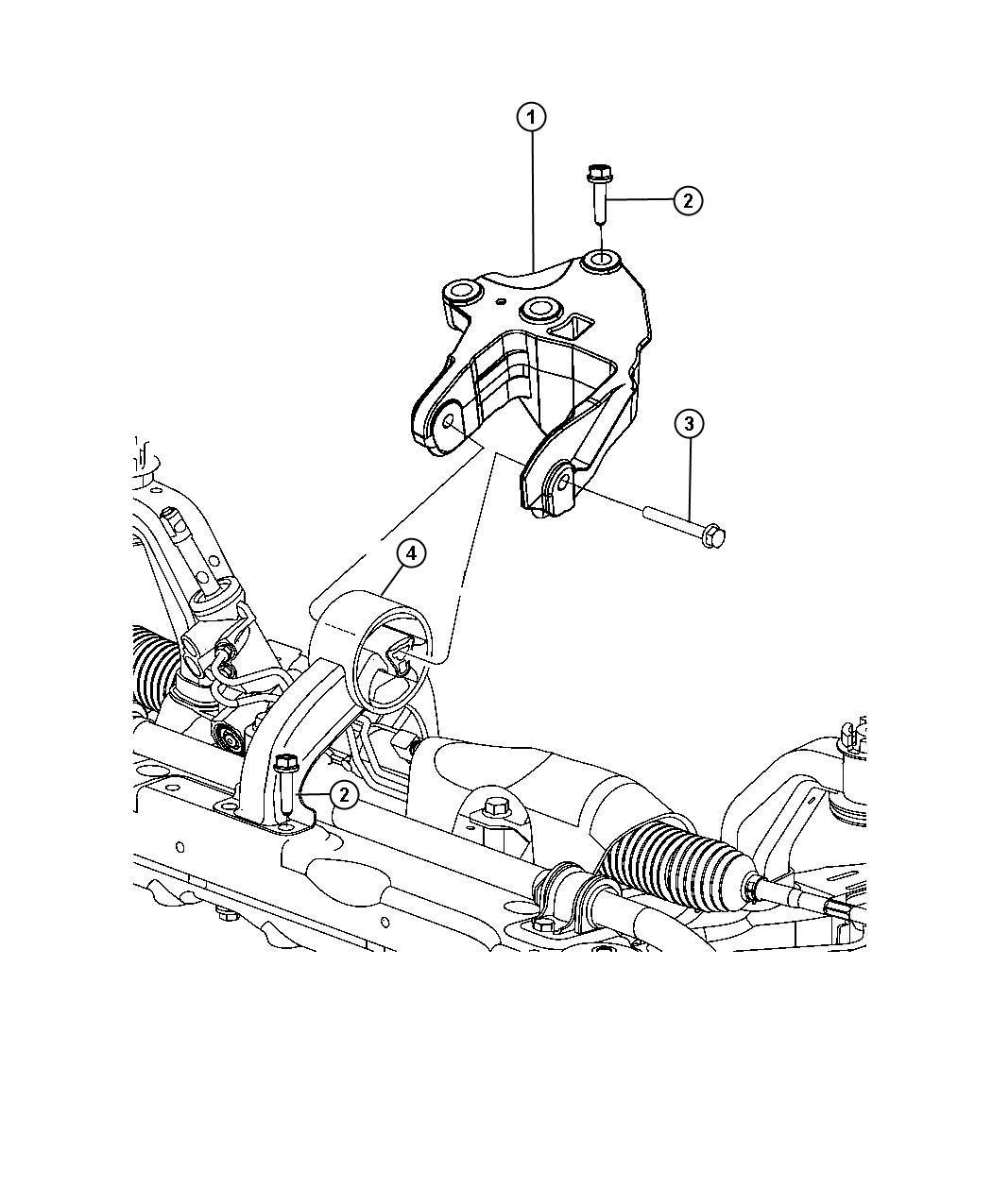 2009 Dodge Journey Engine mount, isolator. Rear. Mounting ...