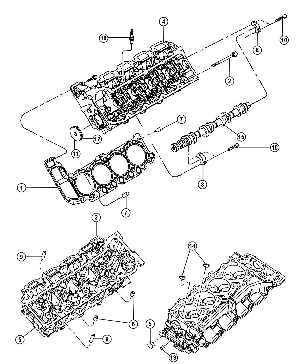 Chrysler Aspen Camshaft  Engine  Right  Right Side  Crew