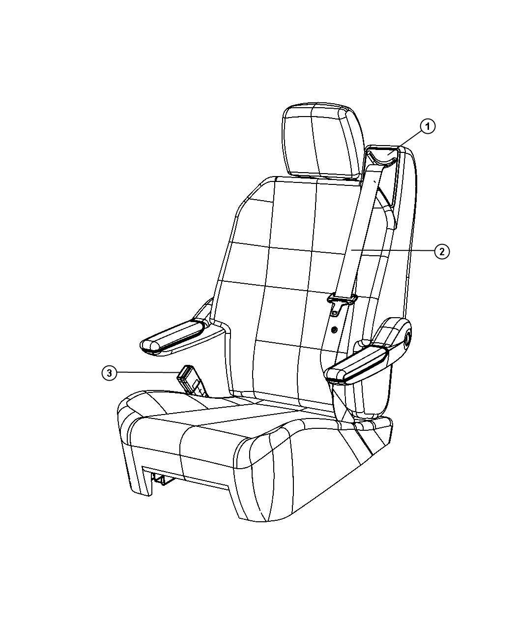 2009 Dodge Grand Caravan Seat belt. Swivel seat. Left. [t1 ...